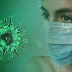 Абстрактна илюстрация на Млада жена с маска и вирус