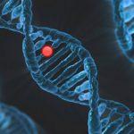 Стилизирана ДНК верига на тъмен фон и една стилизирана червена молекула